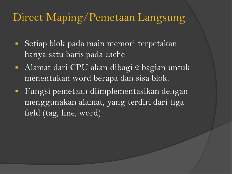 Direct Maping/Pemetaan Langsung  Setiap blok pada main memori terpetakan hanya satu baris pada cache  Alamat dari CPU akan dibagi 2 bagian untuk menentukan word berapa dan sisa blok.