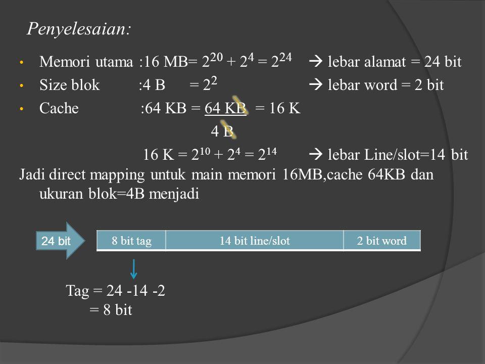 Penyelesaian: Memori utama :16 MB= 2 20 + 2 4 = 2 24  lebar alamat = 24 bit Size blok :4 B = 2 2  lebar word = 2 bit Cache :64 KB = 64 KB = 16 K 4 B 16 K = 2 10 + 2 4 = 2 14  lebar Line/slot=14 bit Jadi direct mapping untuk main memori 16MB,cache 64KB dan ukuran blok=4B menjadi Tag = 24 -14 -2 = 8 bit 24 bit 8 bit tag14 bit line/slot2 bit word