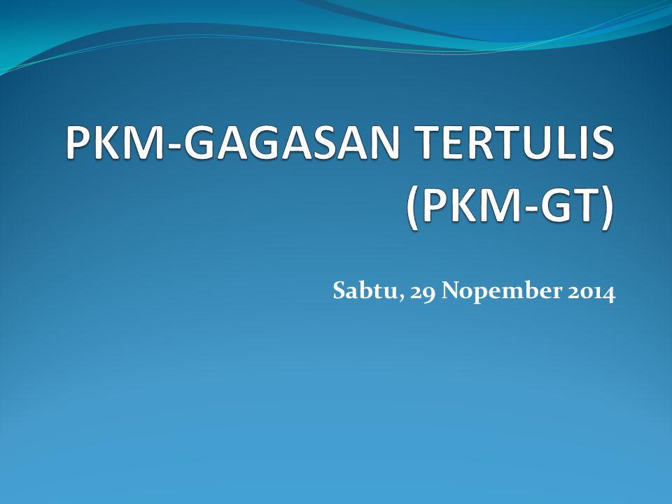 Roh PKM-GT Merupakan wahana mahasiswa dalam berlatih menuliskan ide kreatif sebagai respons intelektual atas persoalan aktual yang dihadapi masyarakat.