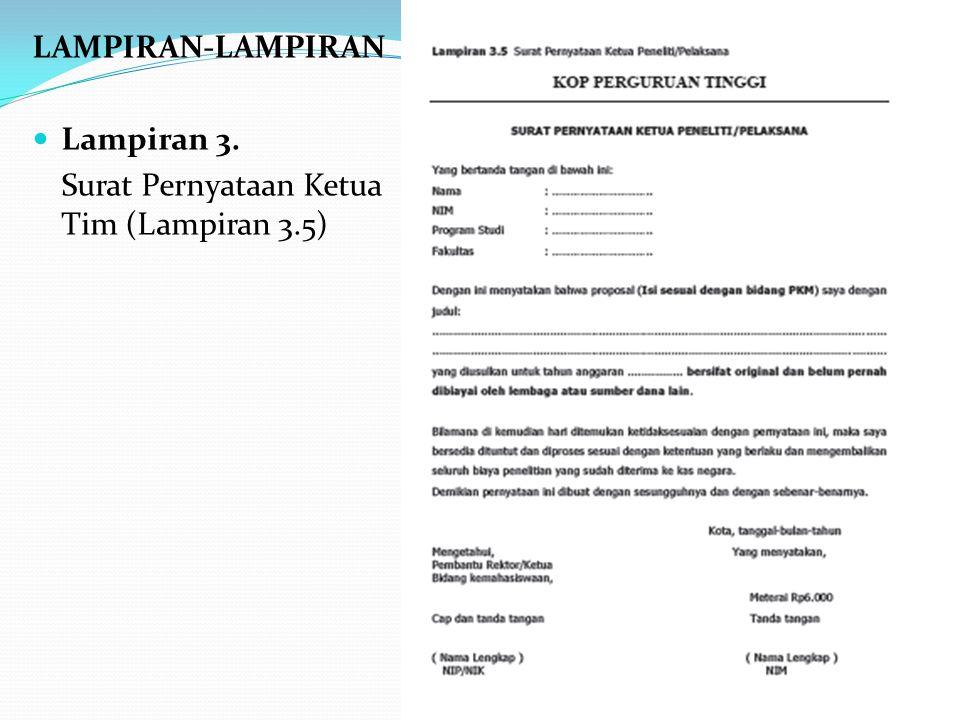 LAMPIRAN-LAMPIRAN Lampiran 3. Surat Pernyataan Ketua Tim (Lampiran 3.5)