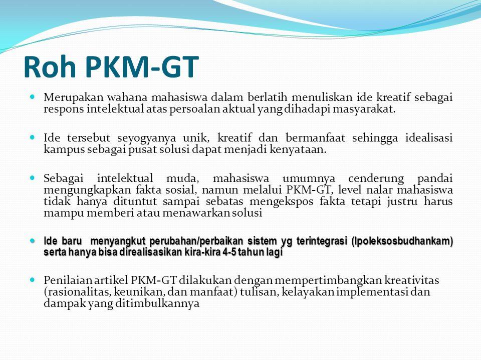 Tujuan PKM-GT Tujuan dari kegiatan PKM-GT adalah menumbuhkembangkan karya tulis mahasiswa dalam bentuk penuangan gagasan atau ide kreatif.