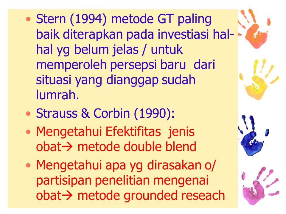 Stern (1994) metode GT paling baik diterapkan pada investiasi hal- hal yg belum jelas / untuk memperoleh persepsi baru dari situasi yang dianggap sudah lumrah.