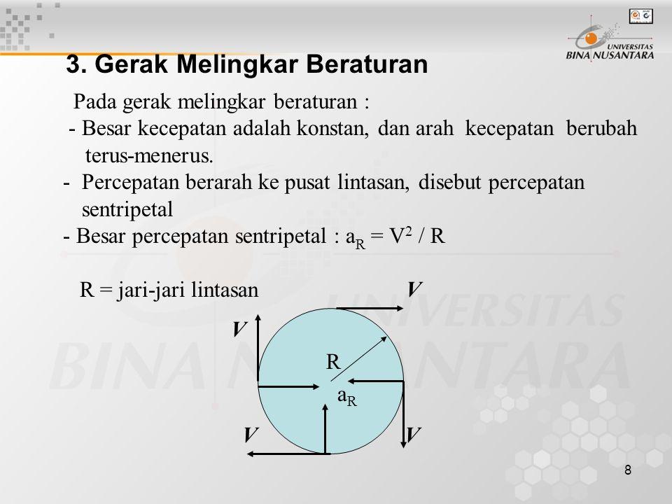 8 3. Gerak Melingkar Beraturan Pada gerak melingkar beraturan : - Besar kecepatan adalah konstan, dan arah kecepatan berubah terus-menerus. - Percepat