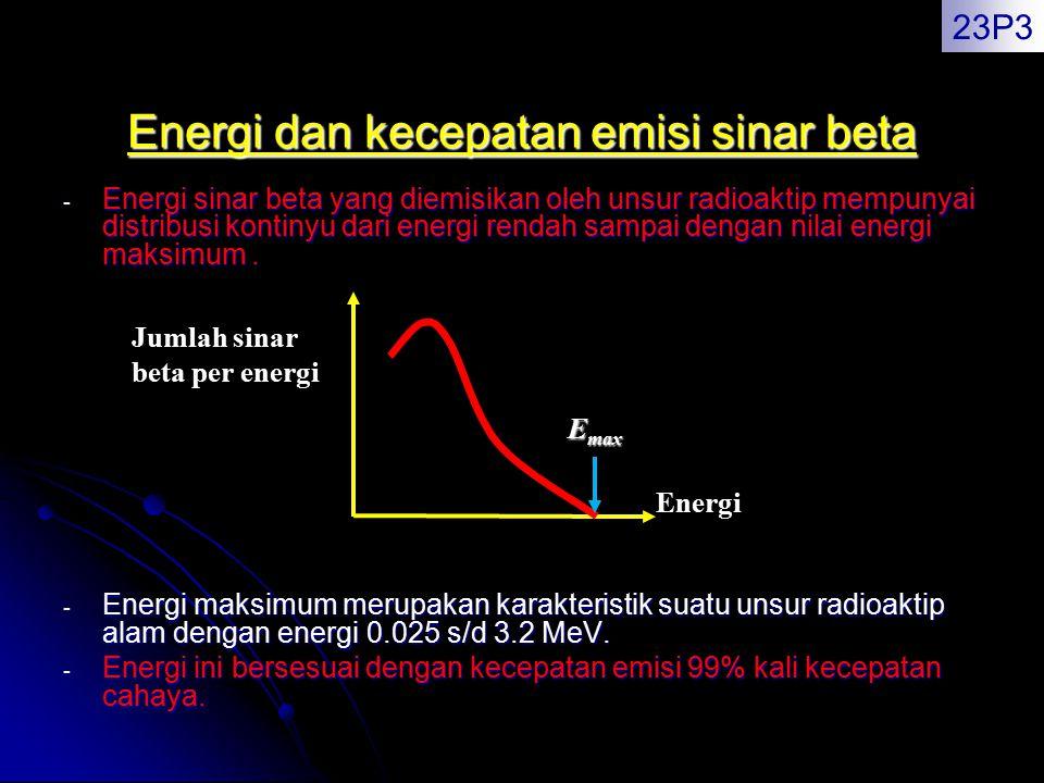 Energi dan kecepatan emisi sinar beta - Energi sinar beta yang diemisikan oleh unsur radioaktip mempunyai distribusi kontinyu dari energi rendah sampa
