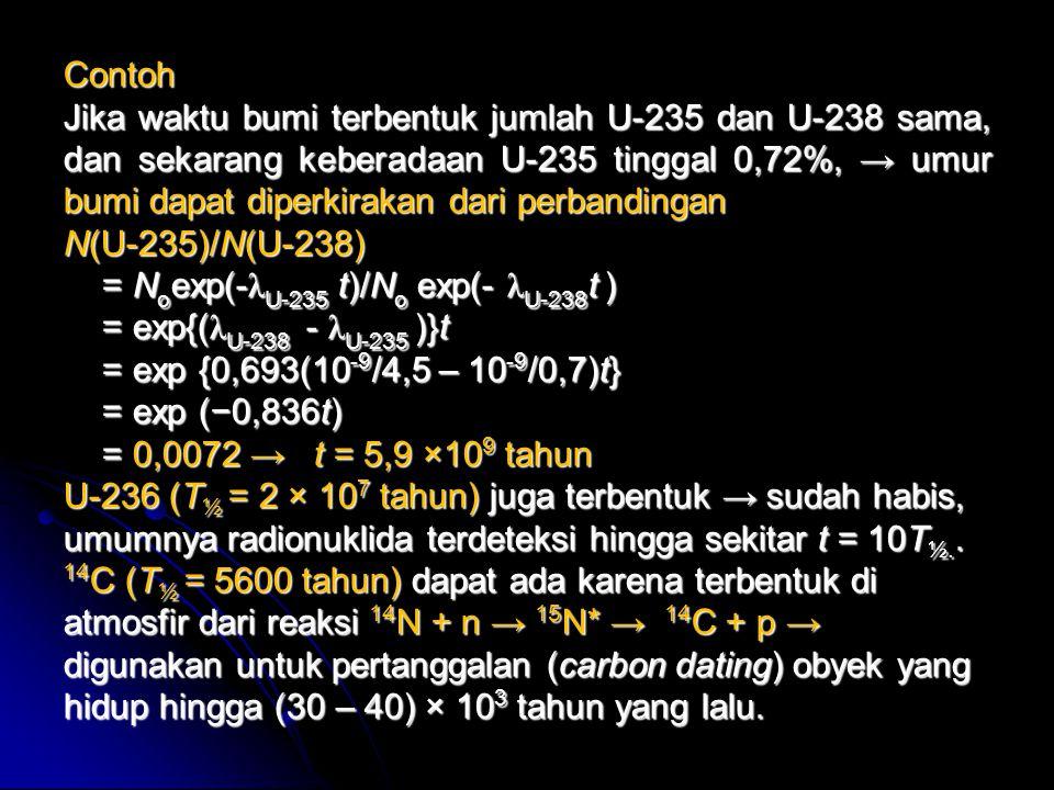 Contoh Jika waktu bumi terbentuk jumlah U-235 dan U-238 sama, dan sekarang keberadaan U-235 tinggal 0,72%, → umur bumi dapat diperkirakan dari perband