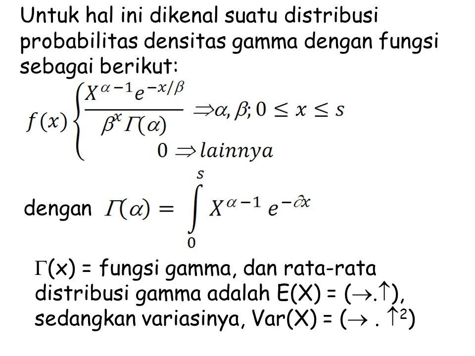 Untuk hal ini dikenal suatu distribusi probabilitas densitas gamma dengan fungsi sebagai berikut: dengan  (x) = fungsi gamma, dan rata-rata distribus