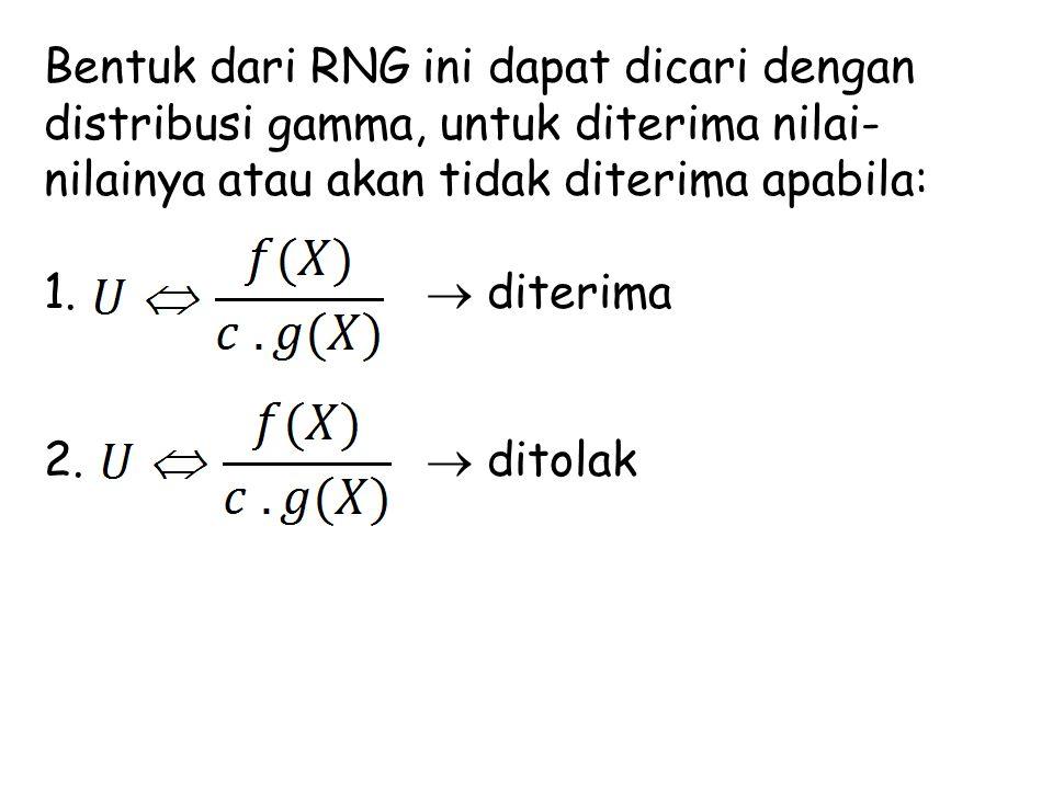 Bentuk dari RNG ini dapat dicari dengan distribusi gamma, untuk diterima nilai- nilainya atau akan tidak diterima apabila: 1.  diterima 2.  ditolak