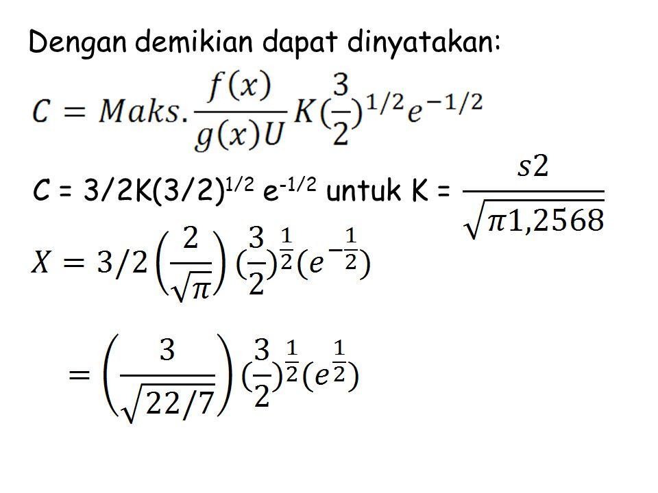 Dengan demikian dapat dinyatakan: C = 3/2K(3/2) 1/2 e -1/2 untuk K =