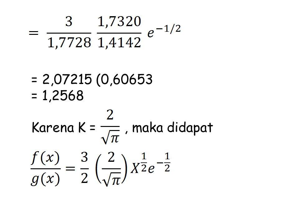 = 2,07215 (0,60653 = 1,2568 Karena K =, maka didapat