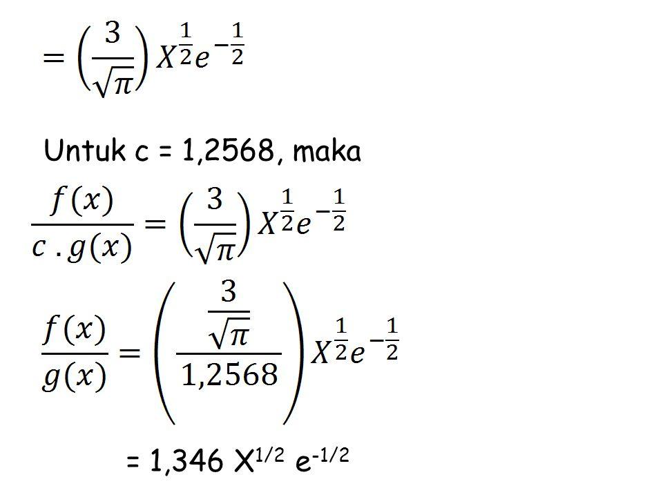 Untuk c = 1,2568, maka = 1,346 X 1/2 e -1/2