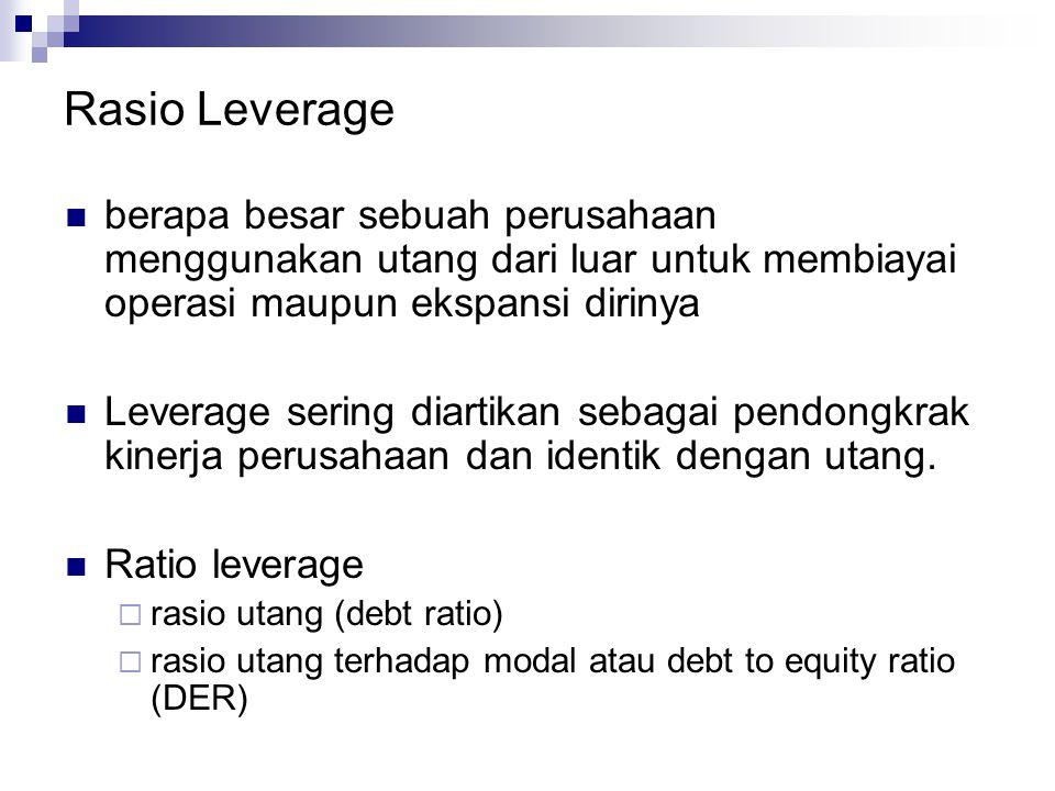 Rasio Leverage berapa besar sebuah perusahaan menggunakan utang dari luar untuk membiayai operasi maupun ekspansi dirinya Leverage sering diartikan se