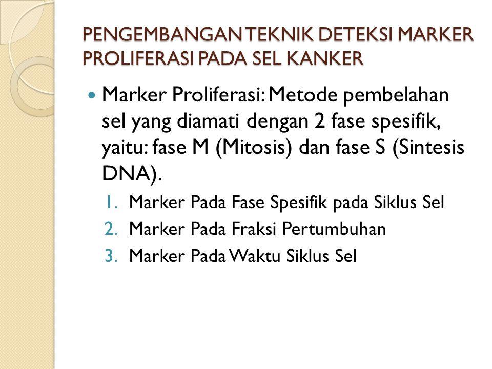 PENGEMBANGAN TEKNIK DETEKSI MARKER PROLIFERASI PADA SEL KANKER Marker Proliferasi: Metode pembelahan sel yang diamati dengan 2 fase spesifik, yaitu: fase M (Mitosis) dan fase S (Sintesis DNA).