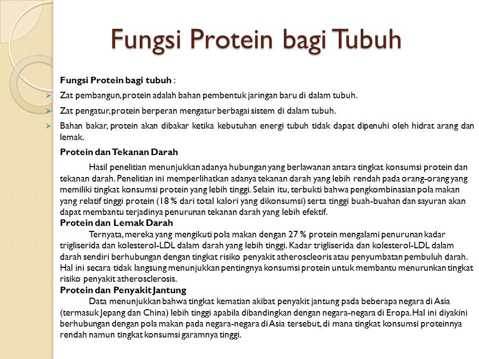Fungsi Protein bagi Tubuh Fungsi Protein bagi tubuh :  Zat pembangun, protein adalah bahan pembentuk jaringan baru di dalam tubuh.