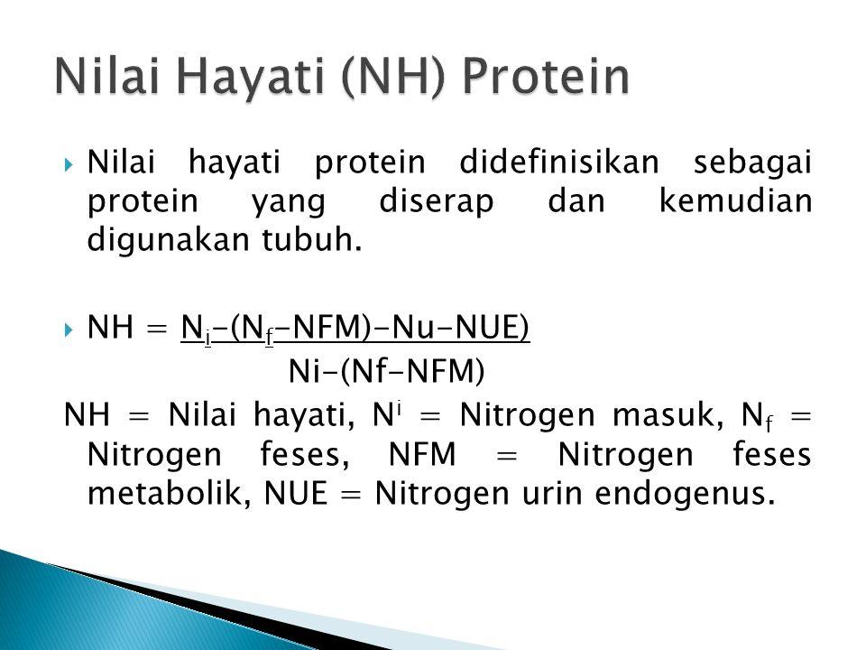  Nilai hayati protein didefinisikan sebagai protein yang diserap dan kemudian digunakan tubuh.  NH = N i -(N f -NFM)-Nu-NUE) Ni-(Nf-NFM) NH = Nilai
