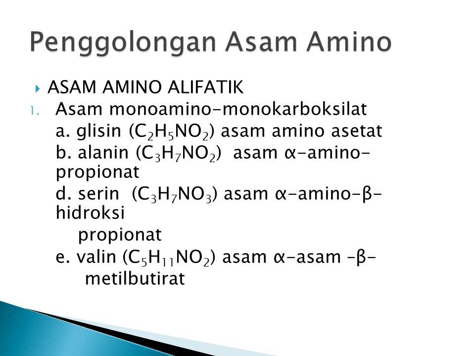  ASAM AMINO ALIFATIK 1. Asam monoamino-monokarboksilat a. glisin (C 2 H 5 NO 2 ) asam amino asetat b. alanin (C 3 H 7 NO 2 ) asam α-amino- propionat