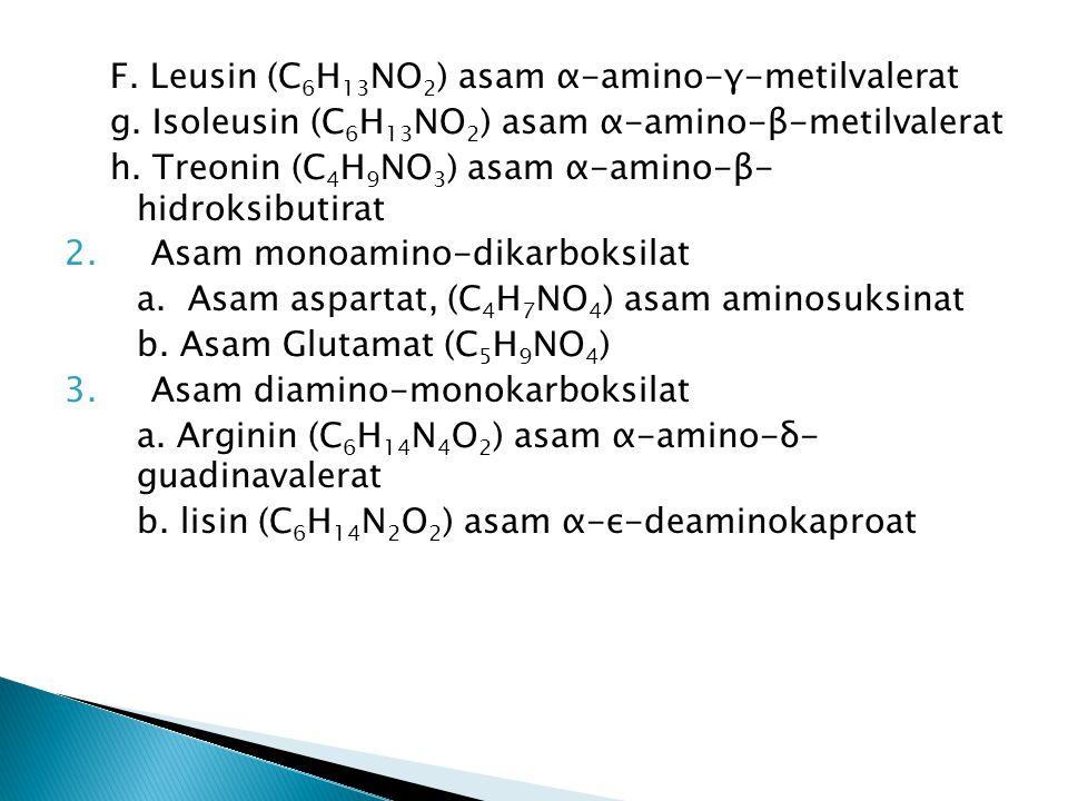 F. Leusin (C 6 H 13 NO 2 ) asam α-amino-γ-metilvalerat g. Isoleusin (C 6 H 13 NO 2 ) asam α-amino-β-metilvalerat h. Treonin (C 4 H 9 NO 3 ) asam α-ami