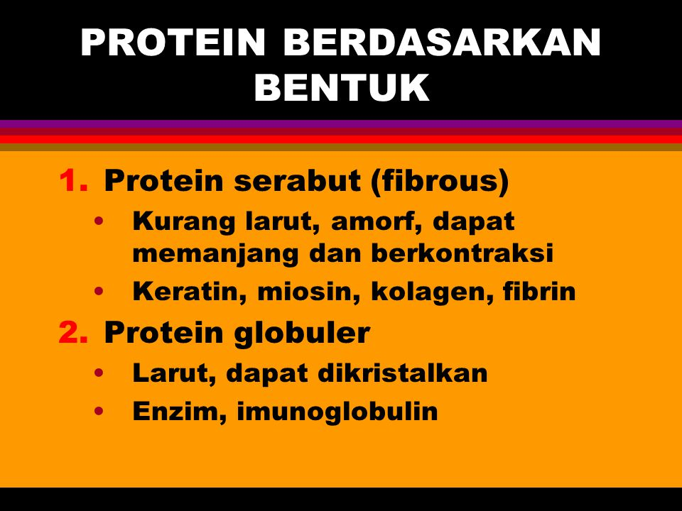 PROTEIN BERDASARKAN BENTUK 1.Protein serabut (fibrous) Kurang larut, amorf, dapat memanjang dan berkontraksi Keratin, miosin, kolagen, fibrin 2.Protei