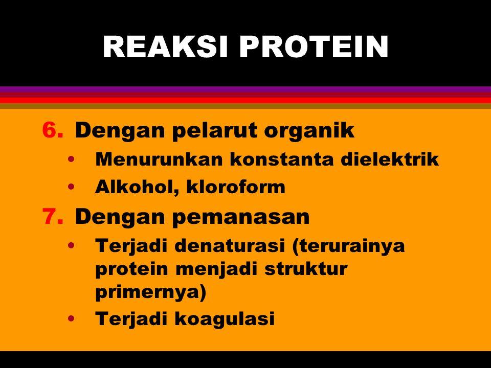 REAKSI PROTEIN 6.Dengan pelarut organik Menurunkan konstanta dielektrik Alkohol, kloroform 7.Dengan pemanasan Terjadi denaturasi (terurainya protein m