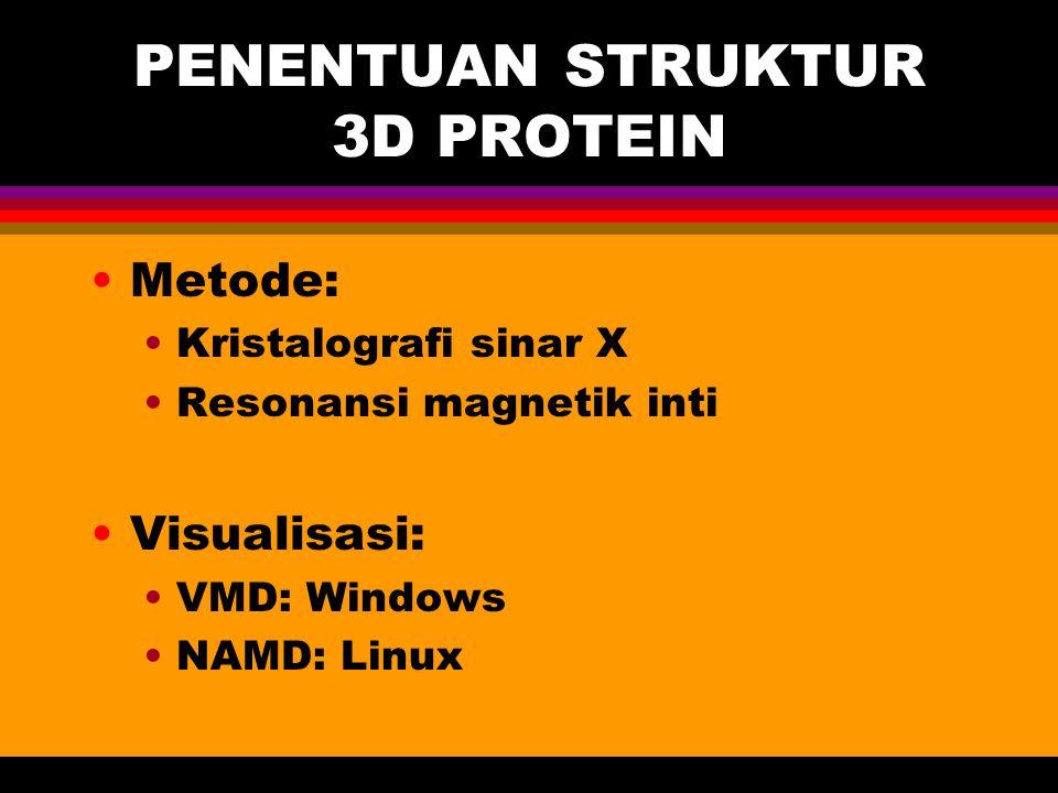 PENENTUAN STRUKTUR 3D PROTEIN Metode: Kristalografi sinar X Resonansi magnetik inti Visualisasi: VMD: Windows NAMD: Linux