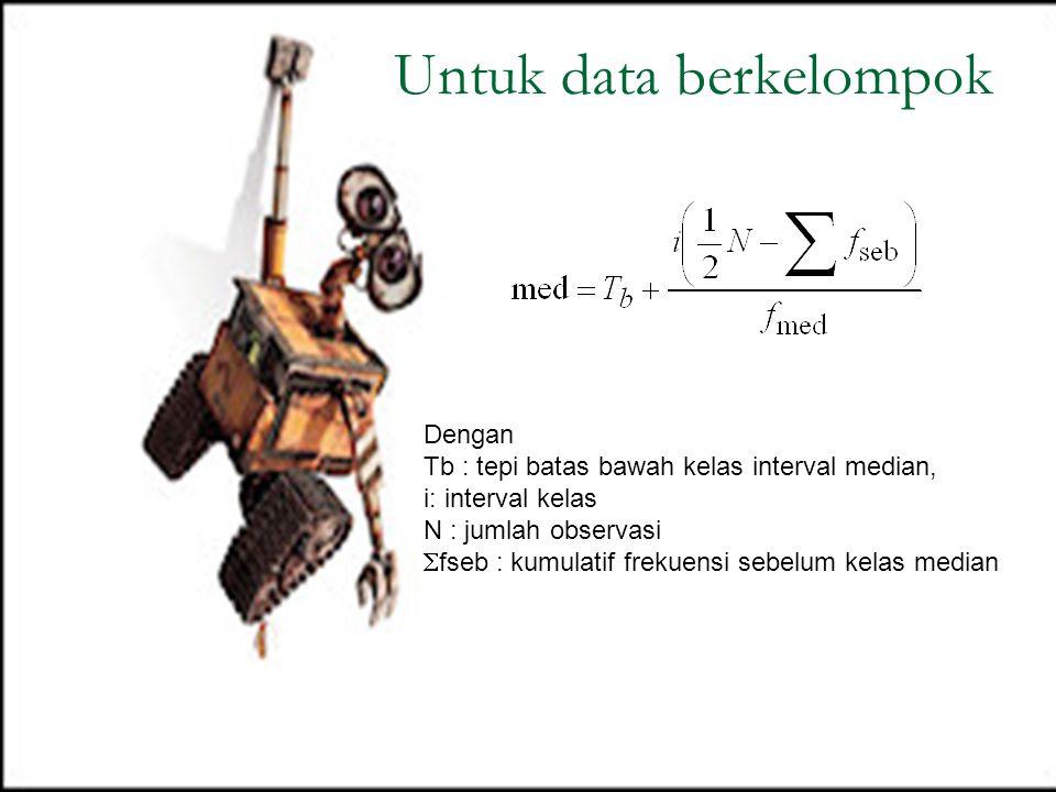 Dengan Tb : tepi batas bawah kelas interval median, i: interval kelas N : jumlah observasi  fseb : kumulatif frekuensi sebelum kelas median Untuk dat