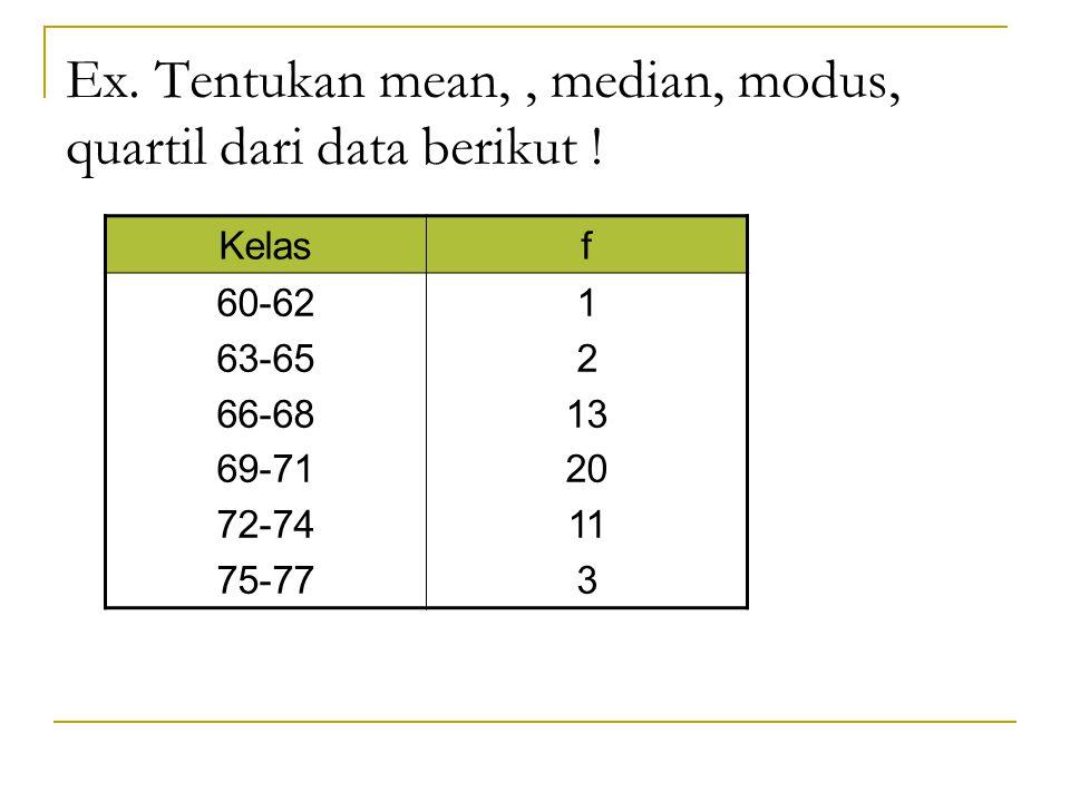 Ex. Tentukan mean,, median, modus, quartil dari data berikut ! Kelasf 60-62 63-65 66-68 69-71 72-74 75-77 1 2 13 20 11 3
