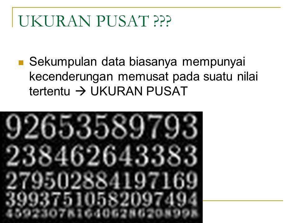 UKURAN PUSAT ??? Sekumpulan data biasanya mempunyai kecenderungan memusat pada suatu nilai tertentu  UKURAN PUSAT