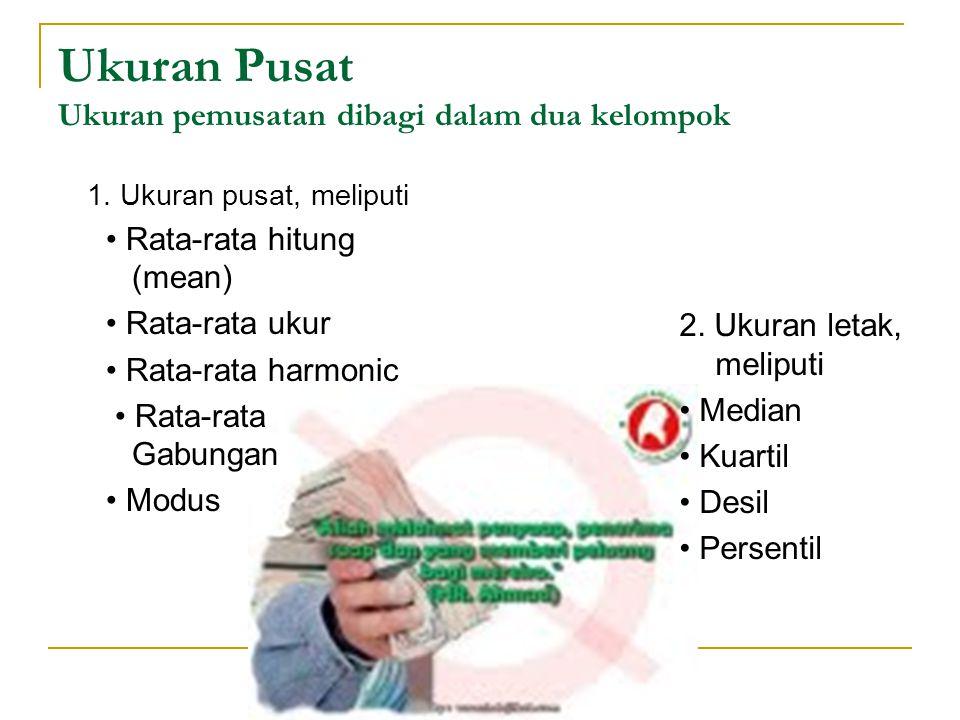 Ukuran Pusat Ukuran pemusatan dibagi dalam dua kelompok 2. Ukuran letak, meliputi Median Kuartil Desil Persentil 1. Ukuran pusat, meliputi Rata-rata h