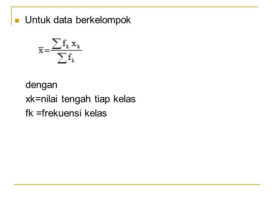 Untuk data berkelompok dengan xk=nilai tengah tiap kelas fk =frekuensi kelas