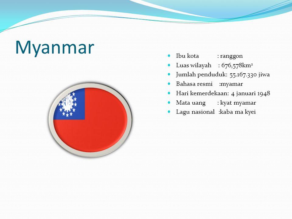 Myanmar Ibu kota : ranggon Luas wilayah : 676,578km 2 Jumlah penduduk: 55.167.330 jiwa Bahasa resmi :myamar Hari kemerdekaan: 4 januari 1948 Mata uang : kyat myamar Lagu nasional :kaba ma kyei