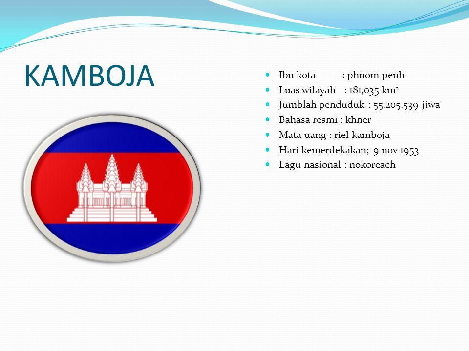 KAMBOJA Ibu kota : phnom penh Luas wilayah : 181,035 km 2 Jumblah penduduk : 55.205.539 jiwa Bahasa resmi : khner Mata uang : riel kamboja Hari kemerd