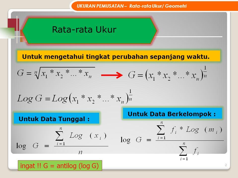 3 UKURAN PEMUSATAN – Contoh Rata-rata Ukur Data Tunggal CONTOH: G = antilog (0.30928...) = 2.03837....