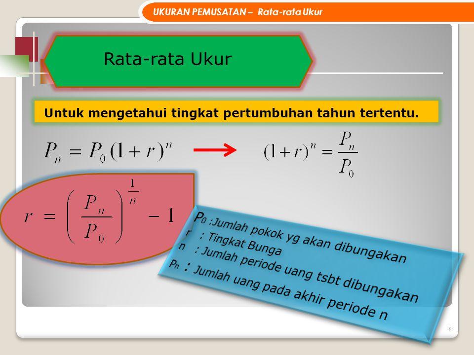 19 Apabila distribusi tidak terlalu menceng, maka terdapat hubungan : Rata-rata – Modus = 3 ( Rata-rata – Median )