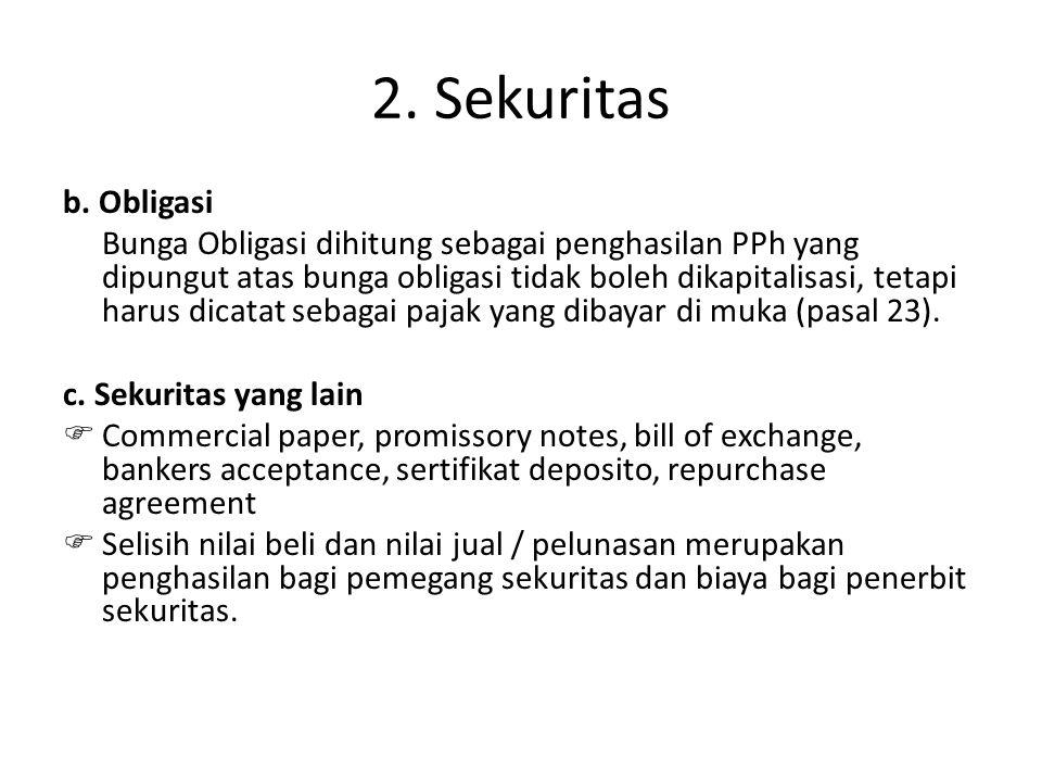 2. Sekuritas b. Obligasi Bunga Obligasi dihitung sebagai penghasilan PPh yang dipungut atas bunga obligasi tidak boleh dikapitalisasi, tetapi harus di