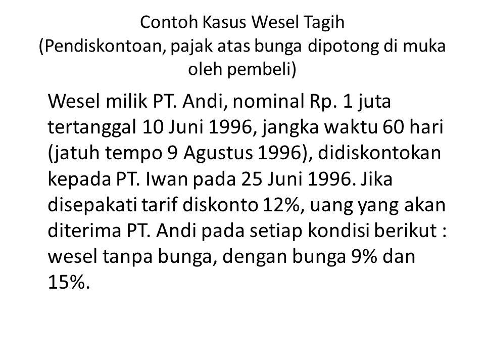 Contoh Kasus Wesel Tagih (Pendiskontoan, pajak atas bunga dipotong di muka oleh pembeli) Wesel milik PT. Andi, nominal Rp. 1 juta tertanggal 10 Juni 1