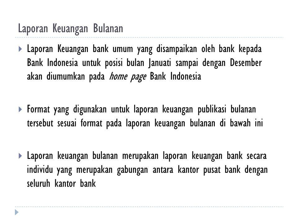 Laporan Keuangan Bulanan  Laporan Keuangan bank umum yang disampaikan oleh bank kepada Bank Indonesia untuk posisi bulan Januati sampai dengan Desemb