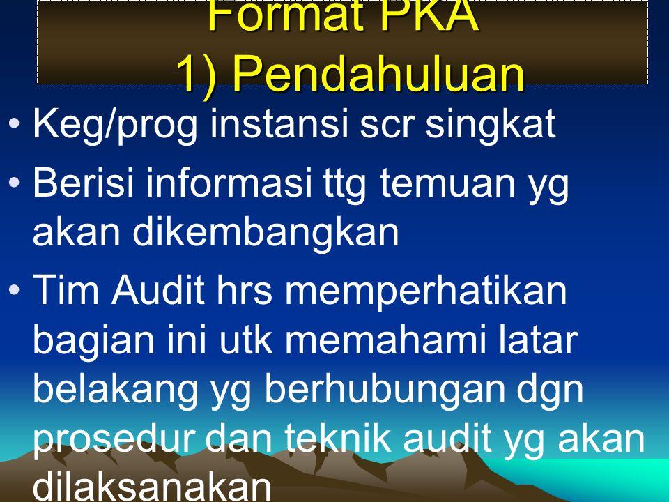 Format PKA 1) Pendahuluan Keg/prog instansi scr singkat Berisi informasi ttg temuan yg akan dikembangkan Tim Audit hrs memperhatikan bagian ini utk me