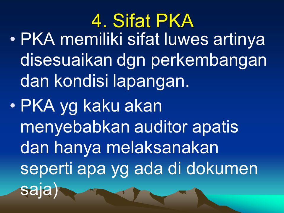 4. Sifat PKA PKA memiliki sifat luwes artinya disesuaikan dgn perkembangan dan kondisi lapangan. PKA yg kaku akan menyebabkan auditor apatis dan hanya