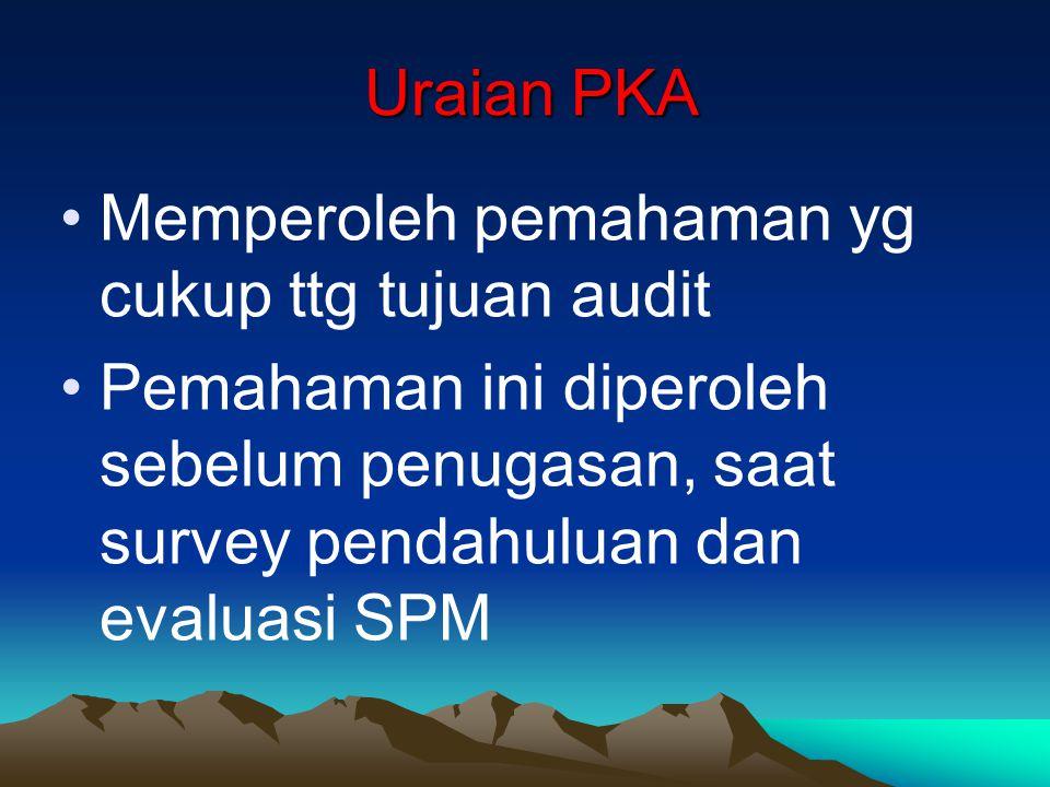 Uraian PKA Uraian PKA Memperoleh pemahaman yg cukup ttg tujuan audit Pemahaman ini diperoleh sebelum penugasan, saat survey pendahuluan dan evaluasi S