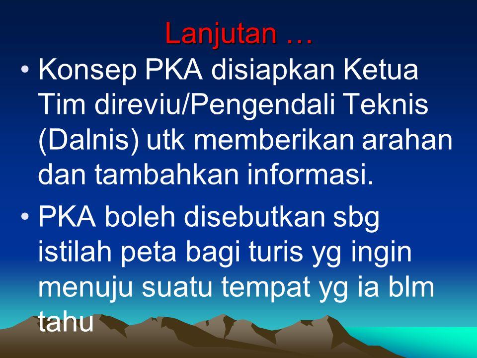Lanjutan … Konsep PKA disiapkan Ketua Tim direviu/Pengendali Teknis (Dalnis) utk memberikan arahan dan tambahkan informasi. PKA boleh disebutkan sbg i