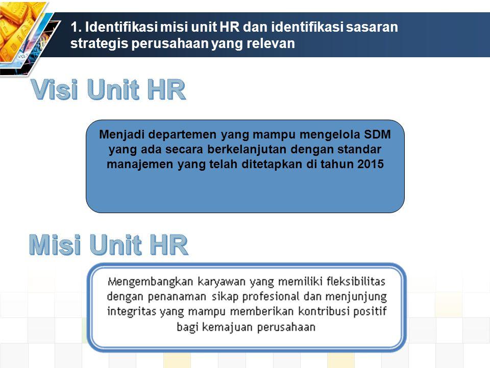 1. Identifikasi misi unit HR dan identifikasi sasaran strategis perusahaan yang relevan Menjadi departemen yang mampu mengelola SDM yang ada secara be