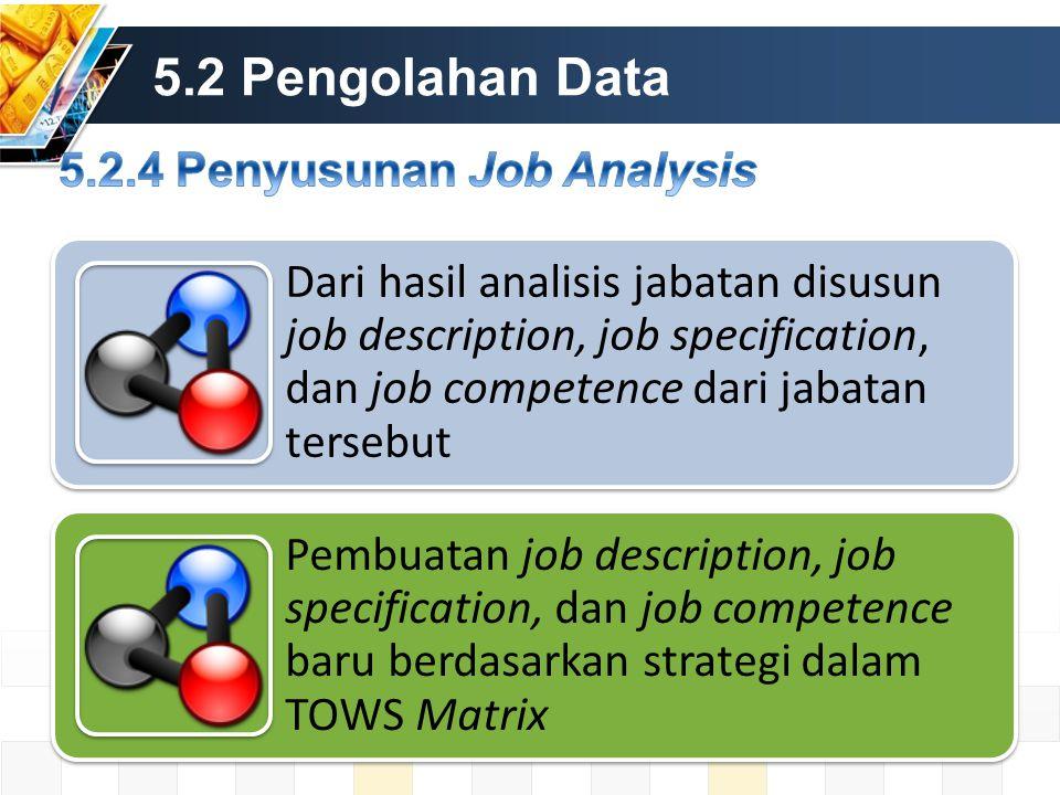 5.2 Pengolahan Data Dari hasil analisis jabatan disusun job description, job specification, dan job competence dari jabatan tersebut Pembuatan job description, job specification, dan job competence baru berdasarkan strategi dalam TOWS Matrix
