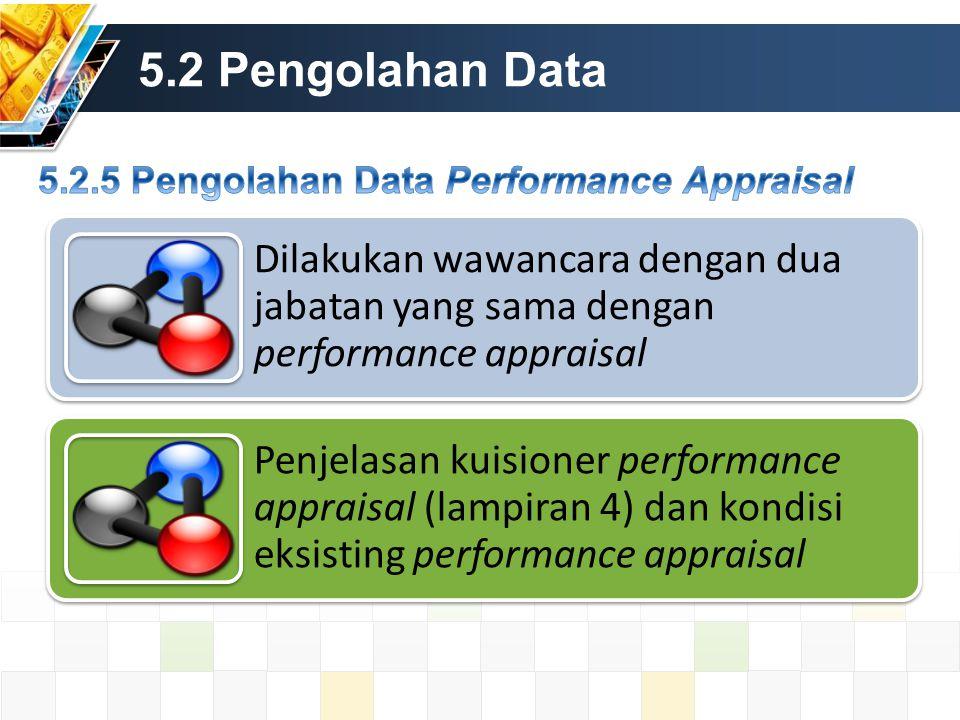 5.2 Pengolahan Data Dilakukan wawancara dengan dua jabatan yang sama dengan performance appraisal Penjelasan kuisioner performance appraisal (lampiran 4) dan kondisi eksisting performance appraisal