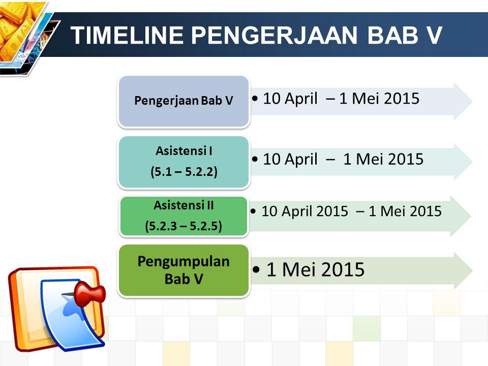 TIMELINE PENGERJAAN BAB V 10 April – 1 Mei 2015 Pengerjaan Bab V 10 April – 1 Mei 2015 Asistensi I (5.1 – 5.2.2) 10 April 2015 – 1 Mei 2015 Asistensi II (5.2.3 – 5.2.5) 1 Mei 2015 Pengumpulan Bab V