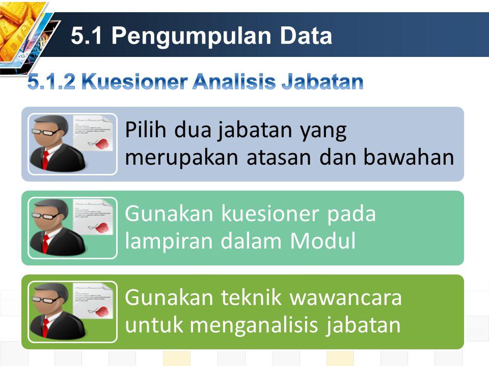 5.1 Pengumpulan Data Pilih dua jabatan yang merupakan atasan dan bawahan Gunakan kuesioner pada lampiran dalam Modul Gunakan teknik wawancara untuk menganalisis jabatan