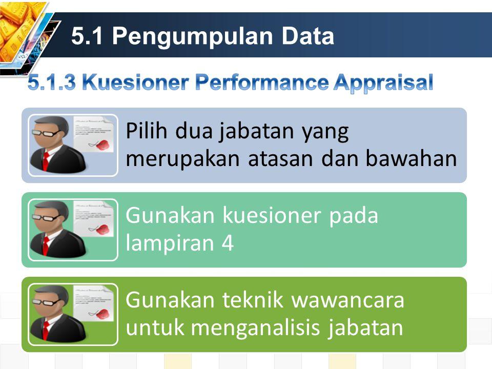 5.1 Pengumpulan Data Pilih dua jabatan yang merupakan atasan dan bawahan Gunakan kuesioner pada lampiran 4 Gunakan teknik wawancara untuk menganalisis jabatan