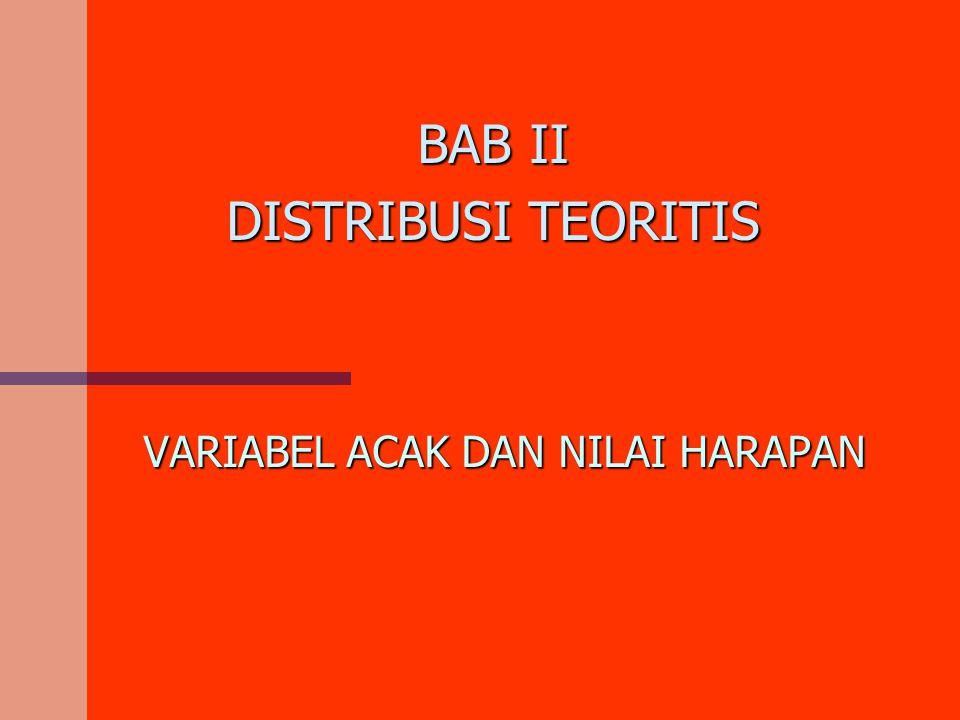 VARIABEL ACAK DAN NILAI HARAPAN BAB II DISTRIBUSI TEORITIS