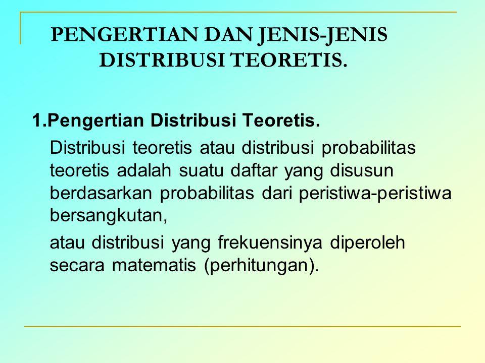 PENGERTIAN DAN JENIS-JENIS DISTRIBUSI TEORETIS. 1.Pengertian Distribusi Teoretis. Distribusi teoretis atau distribusi probabilitas teoretis adalah sua