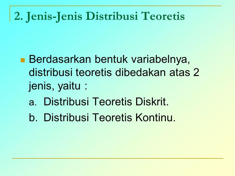 2. Jenis-Jenis Distribusi Teoretis Berdasarkan bentuk variabelnya, distribusi teoretis dibedakan atas 2 jenis, yaitu : a. Distribusi Teoretis Diskrit.
