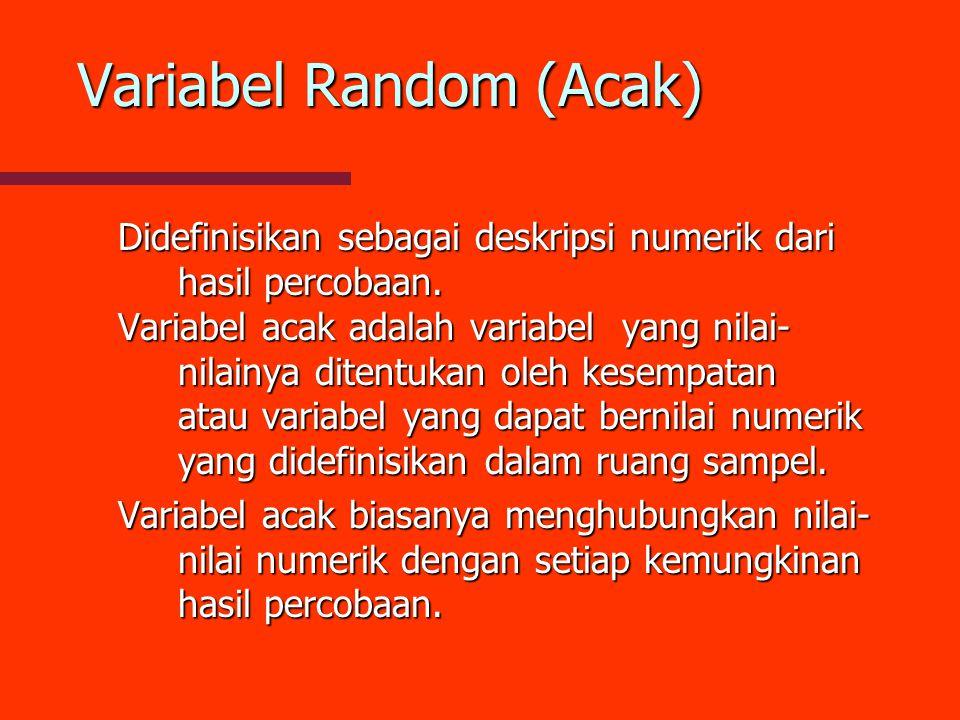 Variabel Random (Acak) Didefinisikan sebagai deskripsi numerik dari hasil percobaan. Variabel acak adalah variabel yang nilai- nilainya ditentukan ole