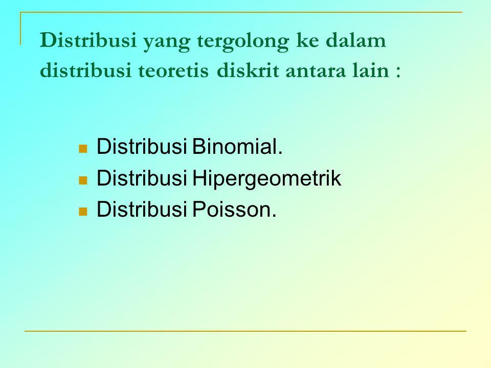 Distribusi yang tergolong ke dalam distribusi teoretis diskrit antara lain : Distribusi Binomial. Distribusi Hipergeometrik Distribusi Poisson.